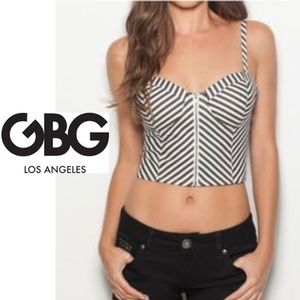 G By Guess Striped Bustier Crop Top